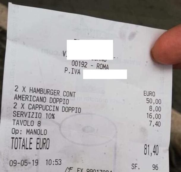 Photo of Hamburger e cappuccini a 81 euro: lo scontrino diventa virale sui social