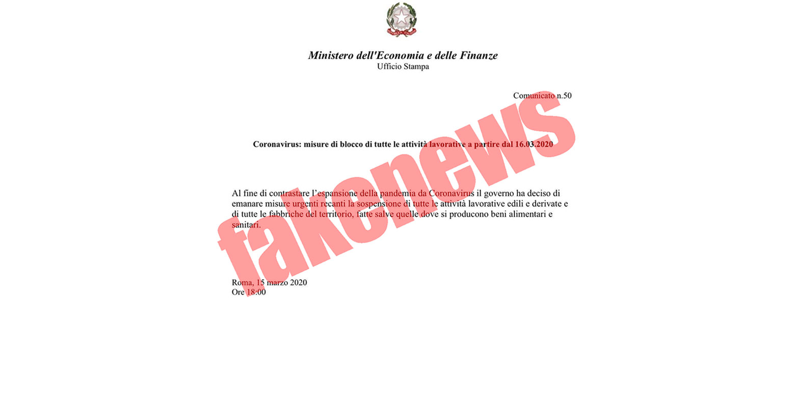 Photo of Comunicato del Ministero dell'Economia e delle Finanze falso: attenzione alle fake news