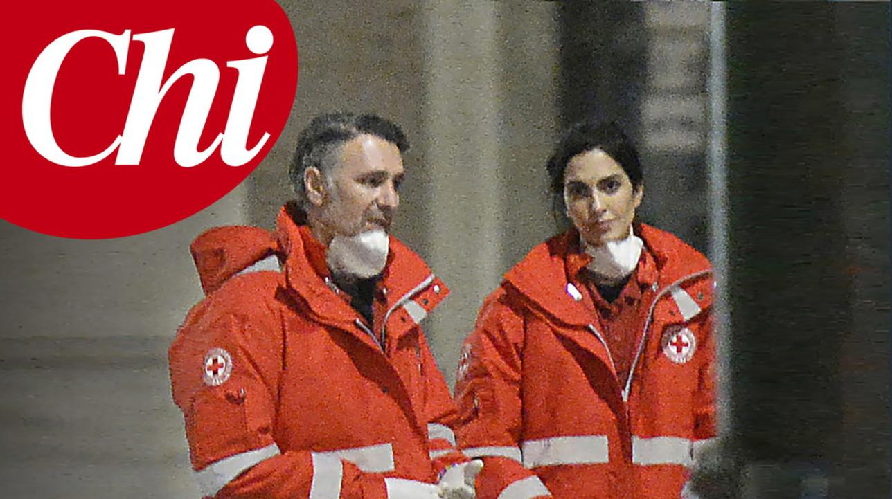 Raoul Bova e Rocio Munoz Morales volontari della Croce Rossa