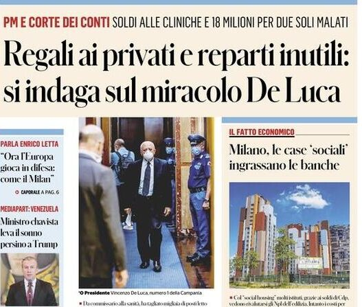 Photo of Regali ai privati e reparti inutili: si indaga sul miracolo De Luca. Inchiesta del Fatto Quotidiano