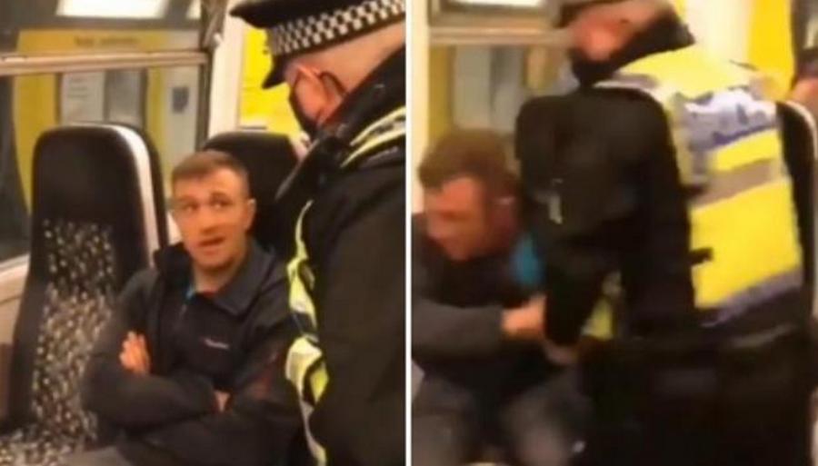 rissa-poliziotto-treno-non-indossa-mascherina-inghilterra-video