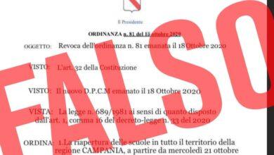 Photo of Ordinanza falsa sulle scuole in Campania: scattano le denunce