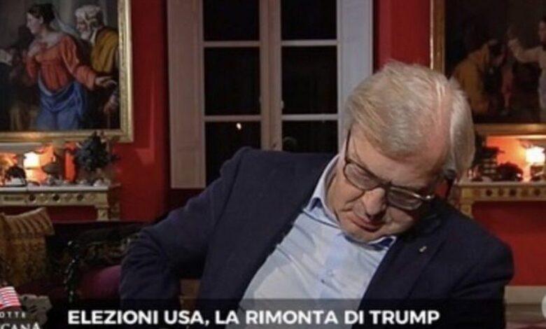 Sgarbi si addormenta in tv durante lo speciale elezioni USA