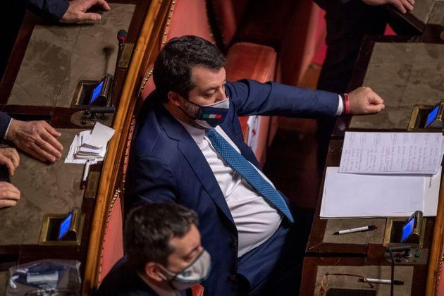 Fiducia. Salvini in Aula del Senato: