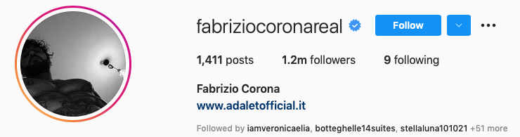 Instagram Fabrizio corona